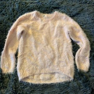 H&M eyelash faux mohair sweater pink blush girls S